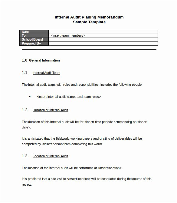 Internal Audit Planning Template Best Of Memo Templates – 22 Free Word Pdf Documents Download