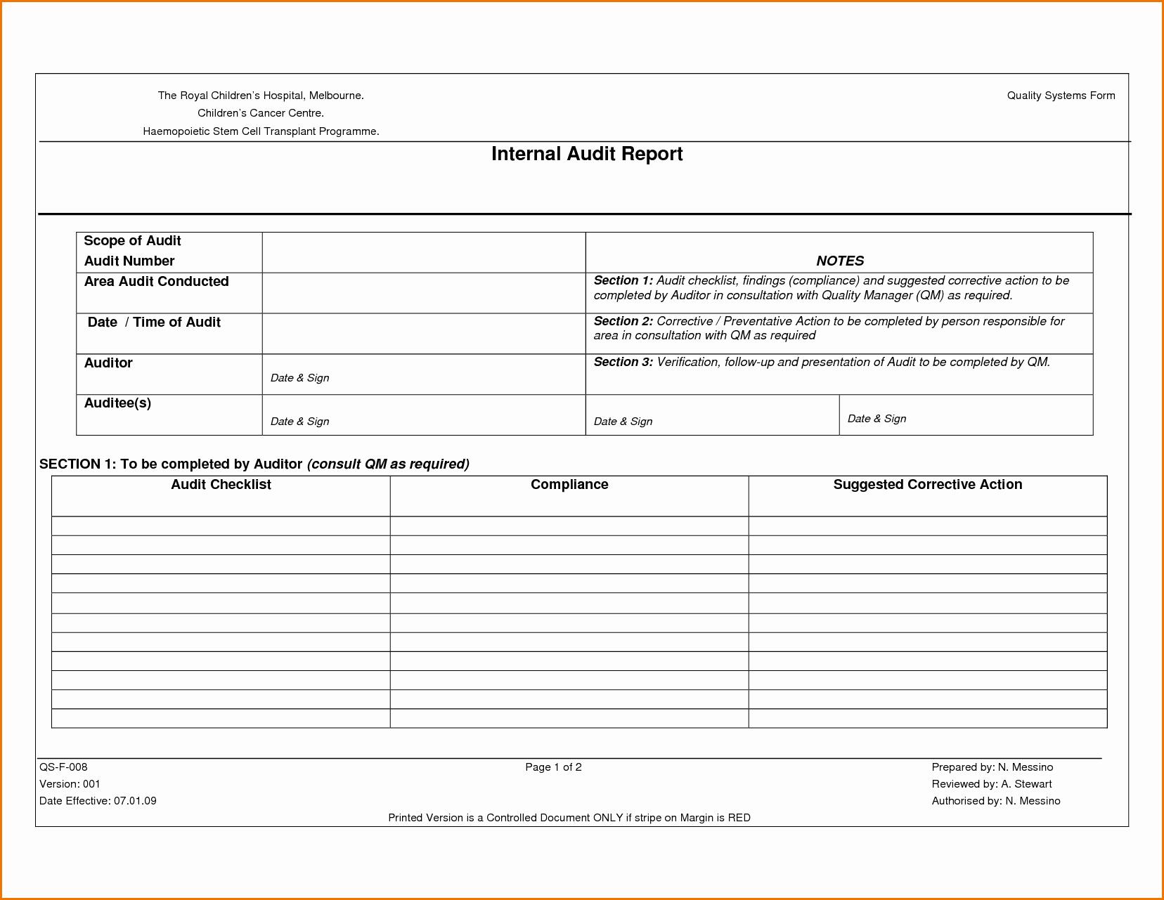 Internal Audit Planning Template Best Of Sample Internal Audit Report Template