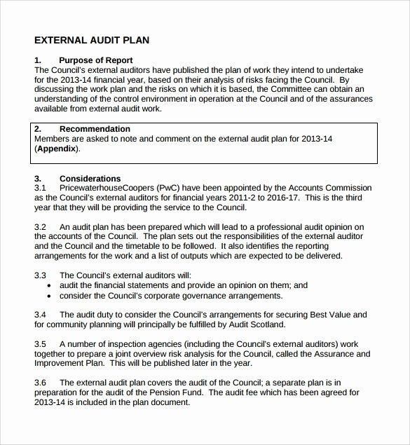 Internal Audit Planning Template Elegant 8 Sample Audit Plan Templates – Word Pdf