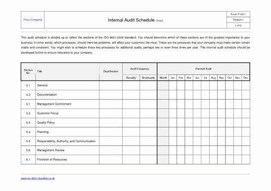 Internal Audit Planning Template Inspirational 27 Of Internal Audit Schedule Template Excel