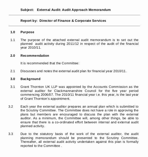Internal Audit Planning Template Lovely 15 Audit Memo Templates – Free Sample Example format