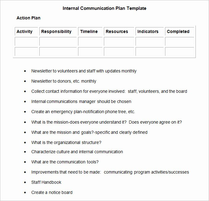 Internal Communication Plan Template Elegant Internal Munication Plan Template 3 Fee Word Pdf