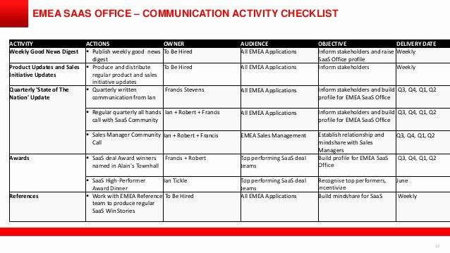Internal Communication Plan Template Fresh software as A Service Internal Munications Plan