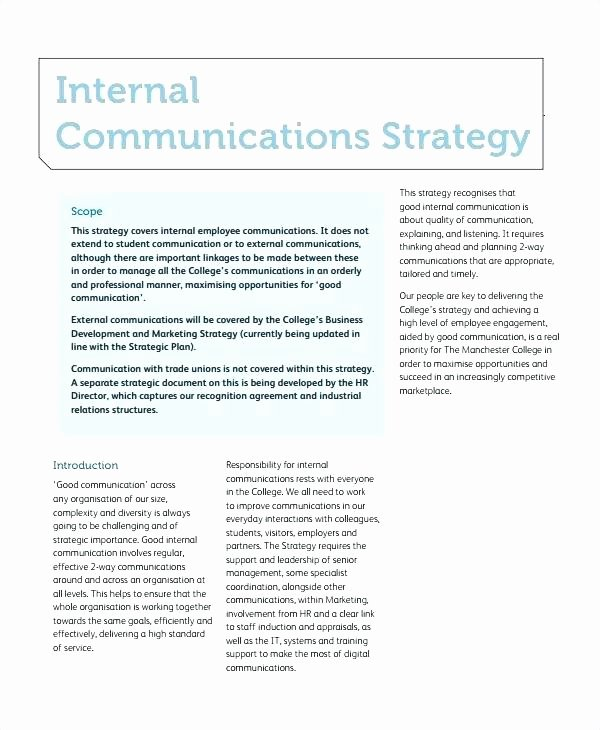 Internal Communication Plan Template Inspirational Internal Crisis Munications Plan Template Free