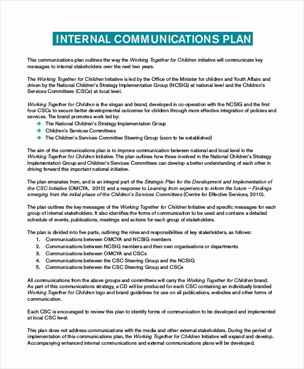 Internal Communication Plan Template Luxury Plan Template 18 Free Word Pdf Psd Indesign format