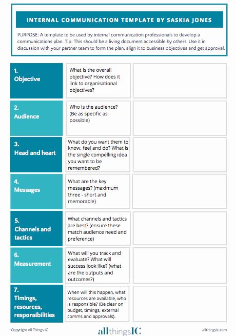 Internal Communication Strategy Template Elegant Free Internal Ms Plan Template