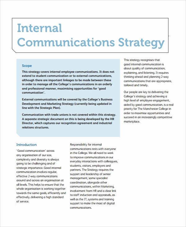 Internal Communication Strategy Template Lovely 8 Sample Munication Strategy Templates