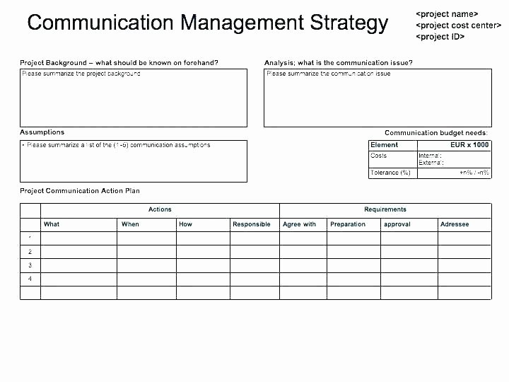 Internal Communications Strategy Template New Project Munication Plan Template Excel as the Name