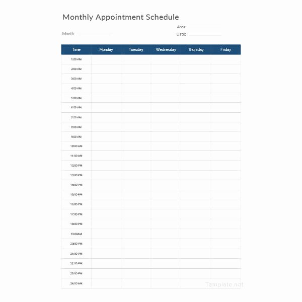 Interview Schedule Template Excel Beautiful Printable Appointment Schedule 12 Free Excel Pdf