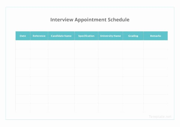 Interview Schedule Template Excel Elegant Printable Appointment Schedule 12 Free Excel Pdf