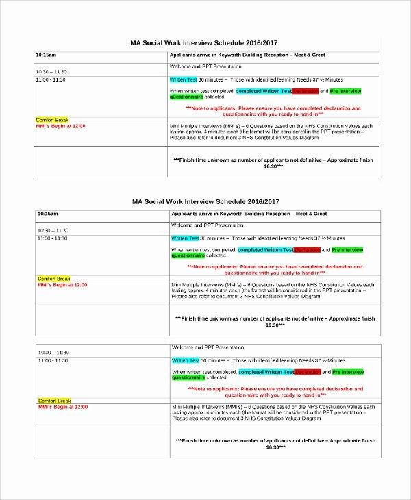 Interview Schedule Template Excel Luxury 47 Sample Schedules