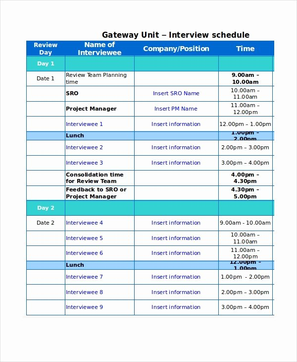 Interview Schedule Template Excel New 13 Sample Excel Schedule Templates Free Example
