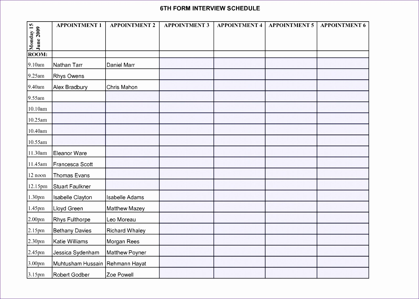 Interview Schedule Template Excel New 6 Excel Timetable Template Exceltemplates Exceltemplates