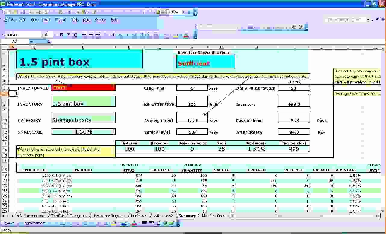 Inventory Control Excel Template Elegant 6 Excel Inventory Management Template