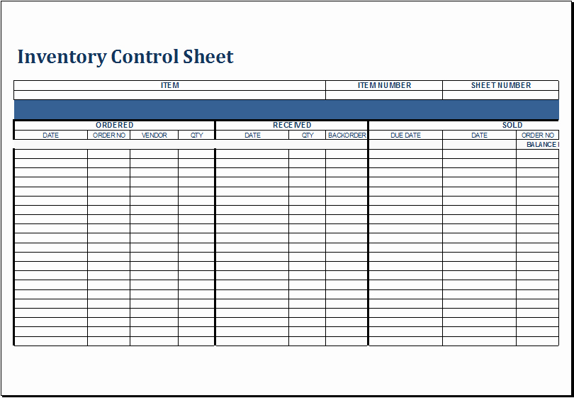 Inventory Control Excel Template Inspirational Inventory Control Sheet Template for Excel