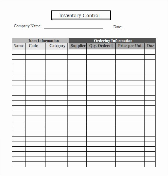 Inventory Control Excel Template Lovely 6 Inventory Tracking – Samples Examples Templates