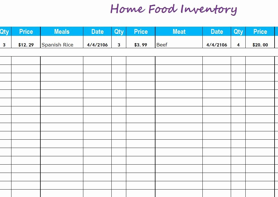 Inventory List Template Excel Beautiful Home Food Inventory My Excel Templates