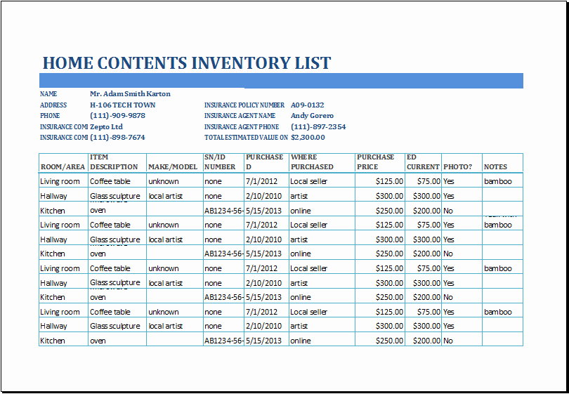 Inventory List Template Excel Best Of 4 Inventory List Templates Excel Excel Xlts