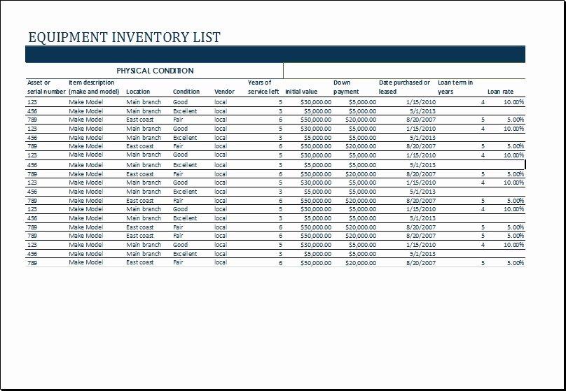 Inventory List Template Excel Luxury Equipment List Template Beepmunk