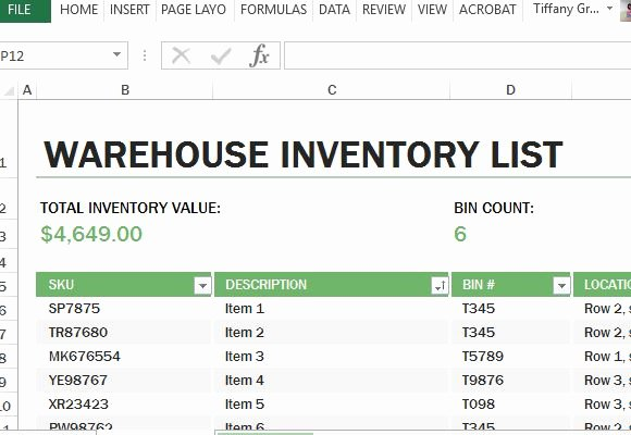 Inventory List Template Excel Luxury Warehouse Inventory Excel Template