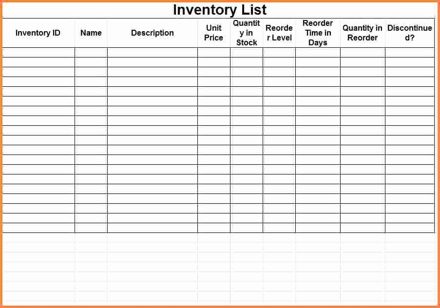Inventory List Template Excel New 3 Printable Inventory Spreadsheet