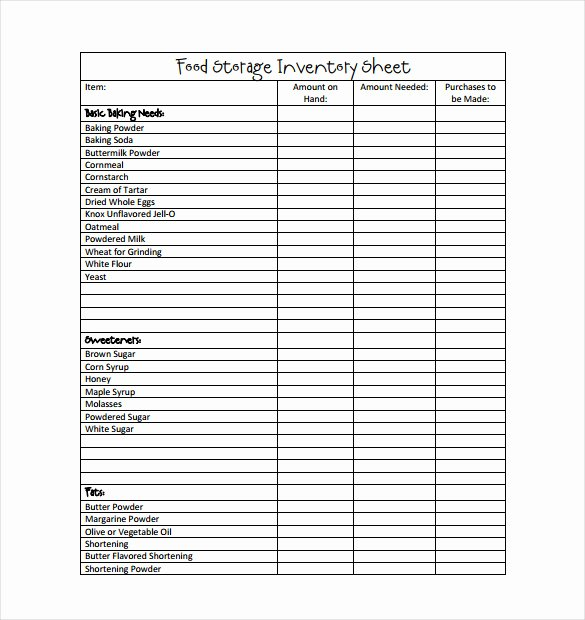 Inventory Sheet Template Excel Lovely Food Inventory Template In Ms Excel format Excel Template