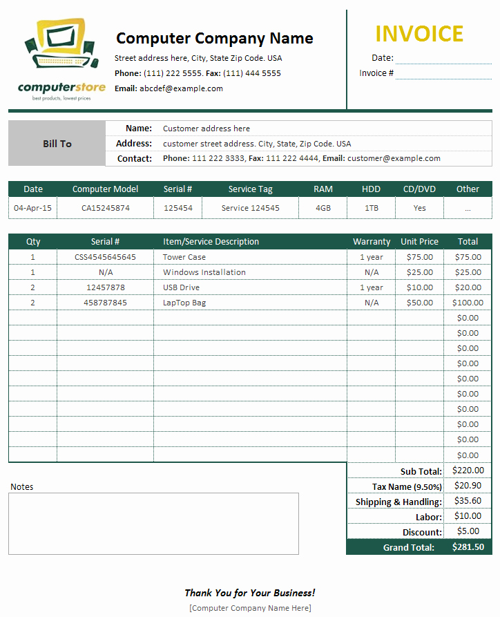 Invoice and Receipt Template Elegant Puter Sales & Service Invoice Template