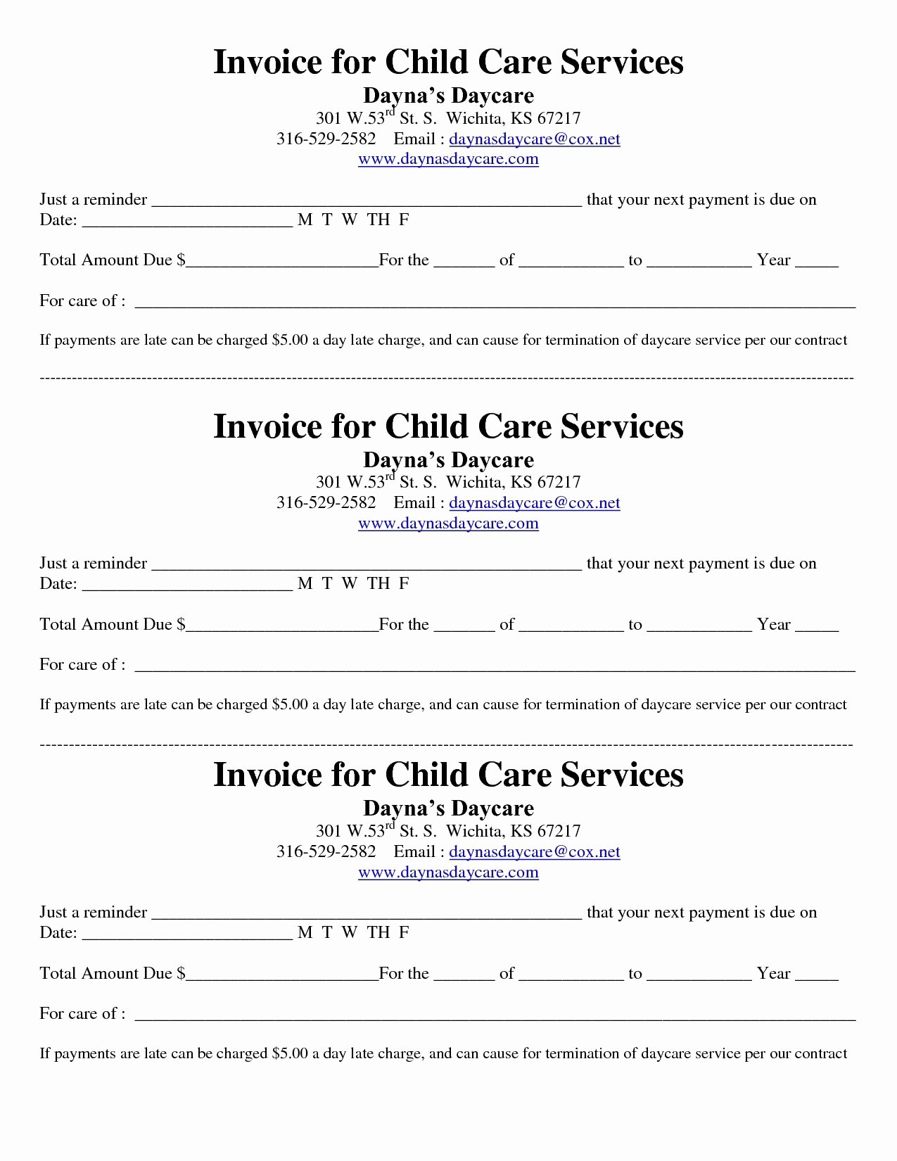 Invoice and Receipt Template Fresh Child Care Receipt Invoice