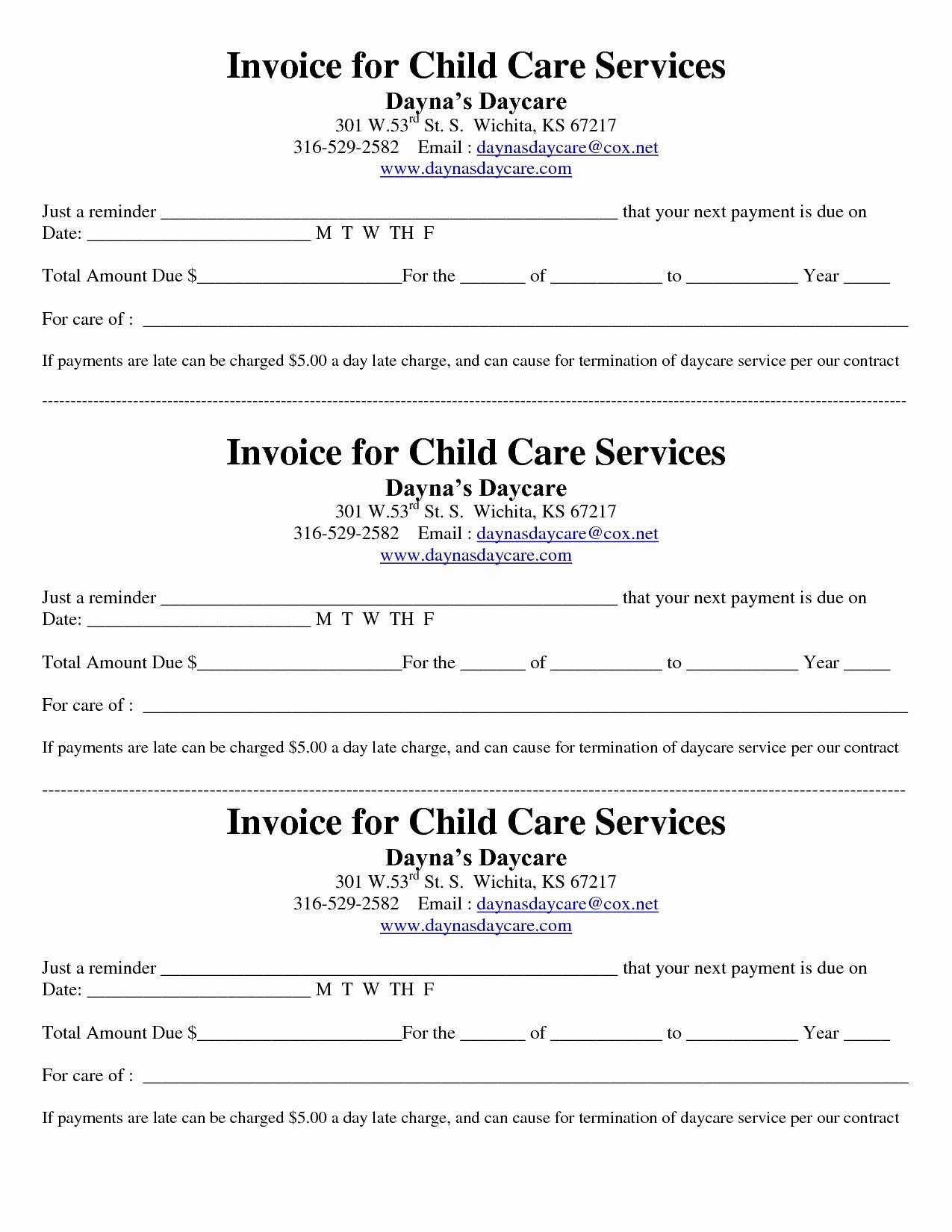 Invoice and Receipt Template Unique Child Care Receipt Invoice Jordi Preschool