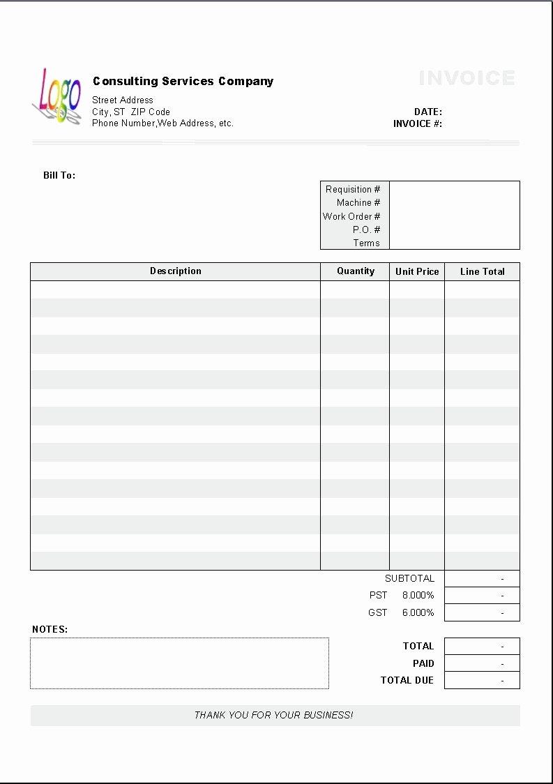 Invoice Spreadsheet Template Free Luxury Excel Based Consulting Invoice Template Excel Invoice