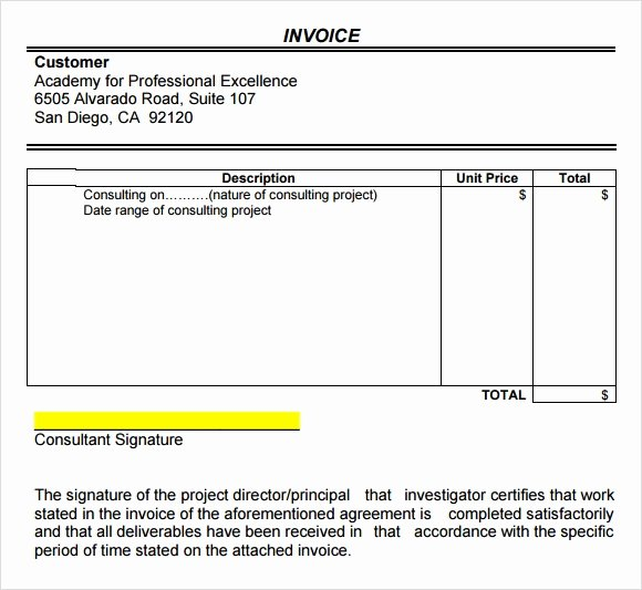 Invoice Template for Consulting Services Beautiful Consulting Invoice Template 7 Free Download for Word Pdf