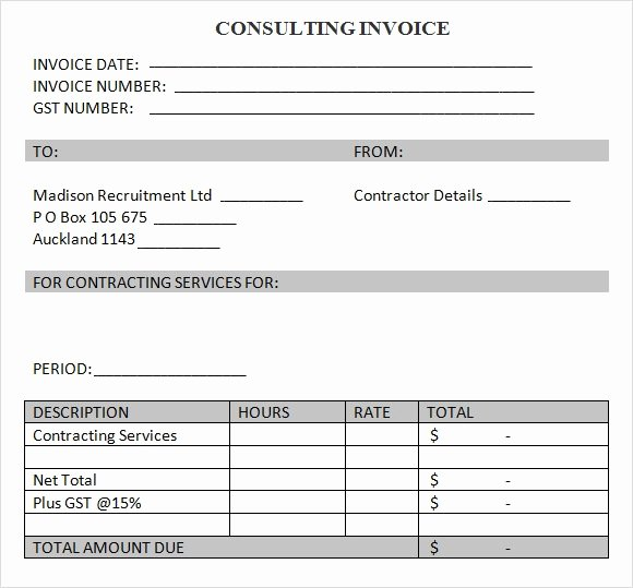 Invoice Template for Consulting Services Inspirational 8 Consulting Invoice Samples