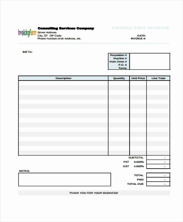 Invoice Template for Consulting Services Lovely 34 Invoice form Examples