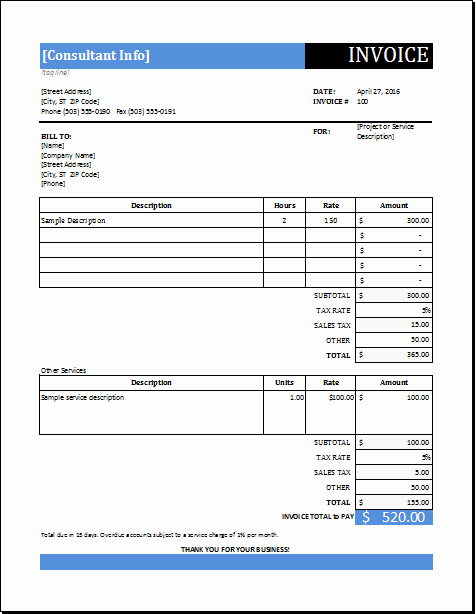 Invoice Template for Consulting Services Luxury Consultant Service Invoice Template