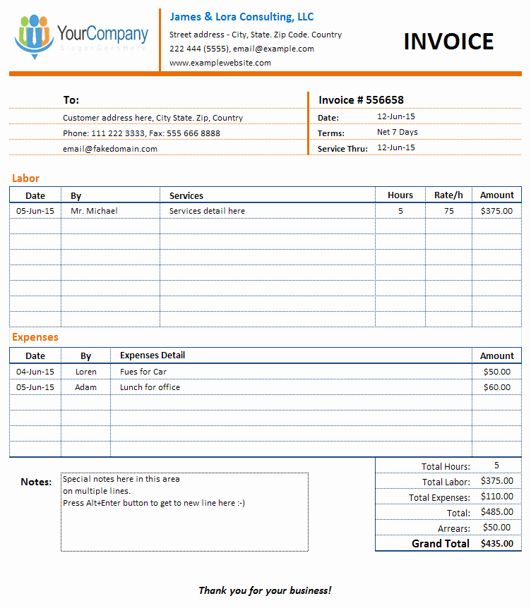 Invoice Template for Consulting Services New Consulting Pany and Individual Consultants Invoice