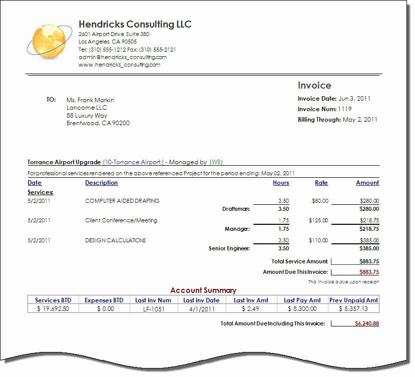 Invoice Template for Consulting Services Unique Consultant Invoice Template