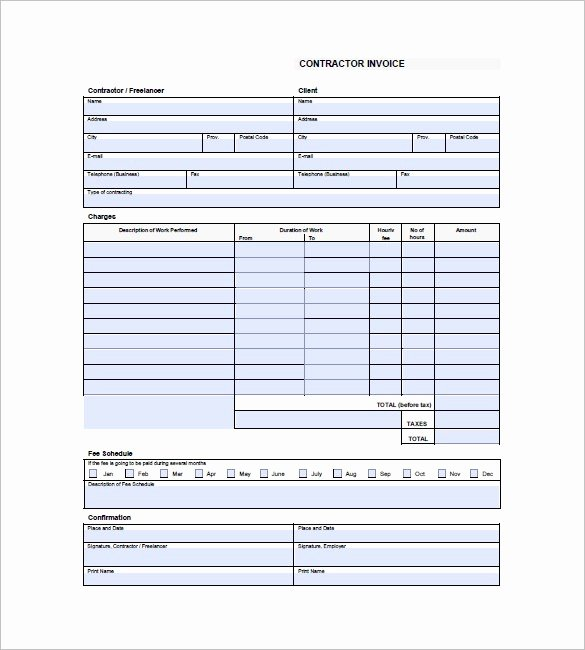 Invoice Template for Contract Work Beautiful 17 Independent Contractor Invoice Template