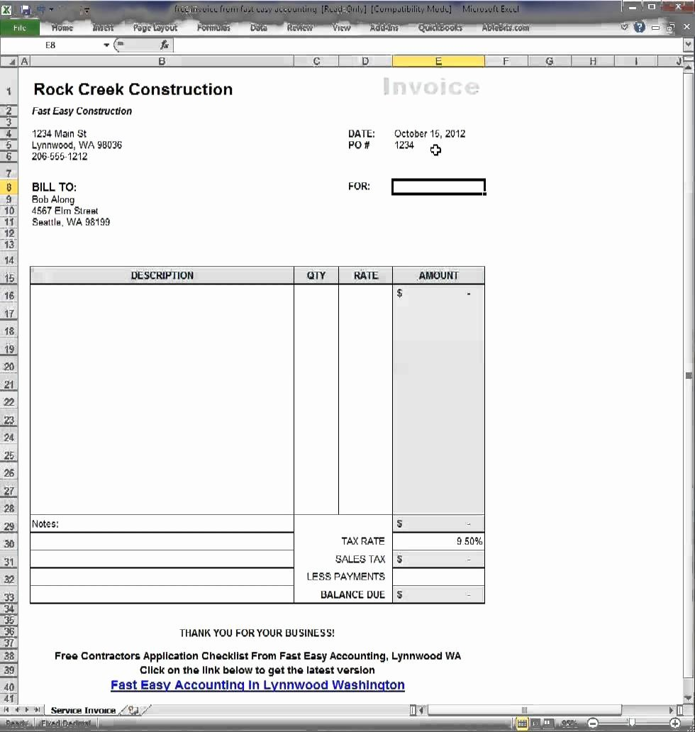 Invoice Template for Contract Work Best Of Subcontractor Invoice Template Excel