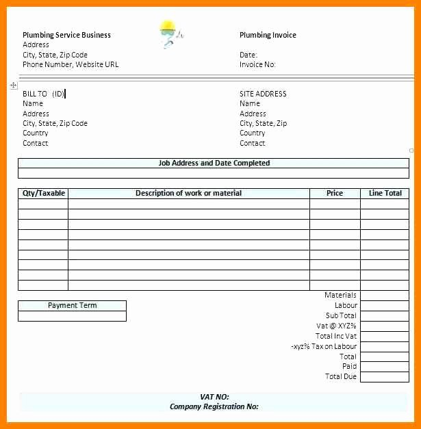 Invoice Template for Contract Work Fresh 18 Plumbing Receipt Template