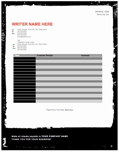 Invoice Template for Freelance Fresh Freelance Writer Invoice Template – Free Invoice Templates
