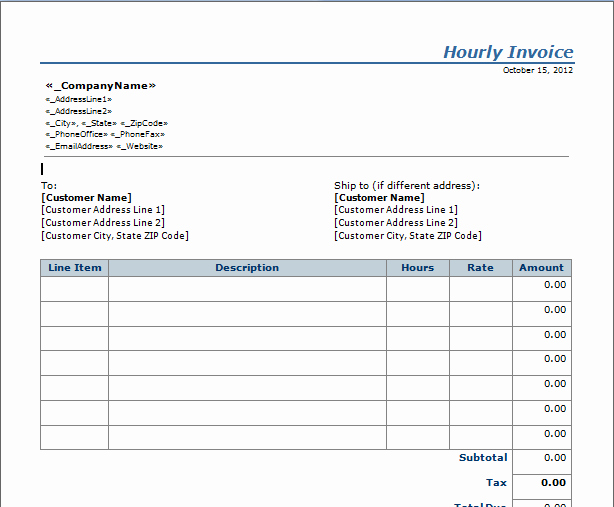 Invoice Template for Hours Worked Best Of Invoice Template Hours Worked