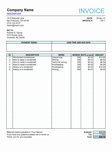 Invoice Template for Hours Worked Lovely 10 Free Freelance Invoice Templates [word Excel]