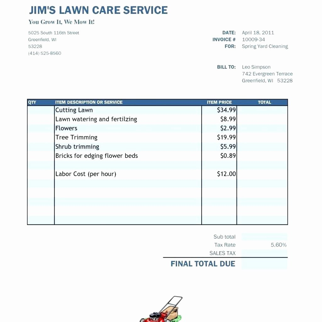 Invoice Template for Hours Worked New Template Invoice Template for Hours Worked Free Lawn Care