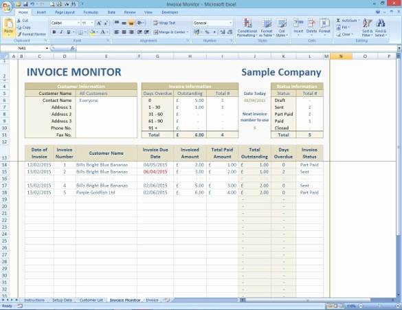 Invoice Tracking Template Excel Best Of Invoice Tracking Template Excel