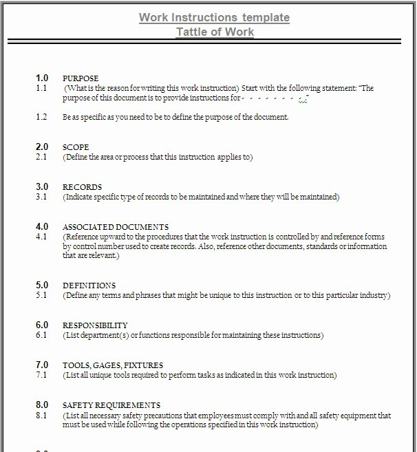 Iso 9001 Work Instruction Template Elegant Work Instruction Template
