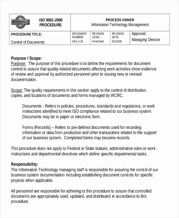 Iso Work Instruction Template Awesome Working Instruction Template 6 Free Word Pdf Document
