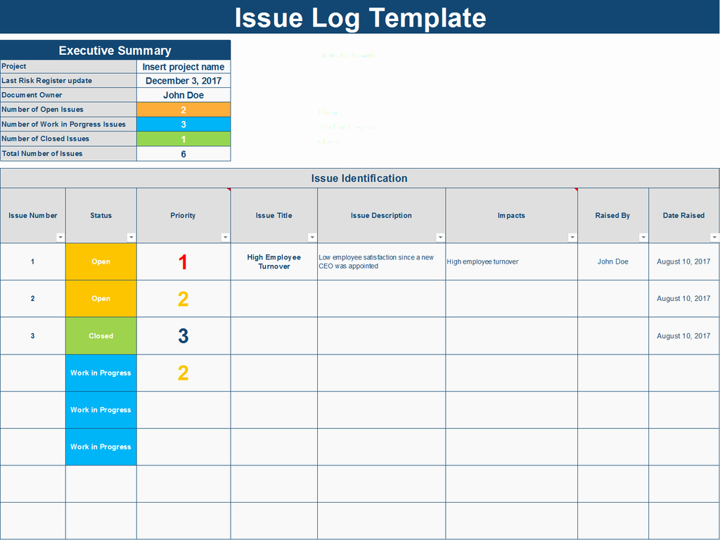 Issue Tracking Excel Template Beautiful Download An issue Log Excel Template