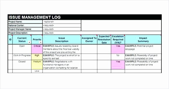 Issue Tracking Excel Template Lovely Project Tracking Template issue Excel Log Good Best
