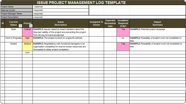 Issue Tracking Template Excel Fresh Download issue Project Management Templates