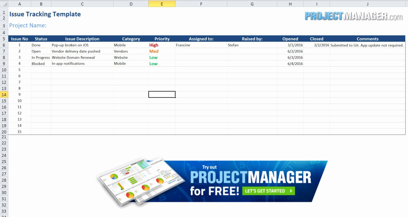 Issue Tracking Template Excel Inspirational Guide to Excel Project Management Projectmanager
